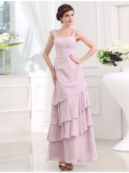 Trapèze/Princesse Perles Sans Manches Avec bretelles Layered Mousseline Longue Robes