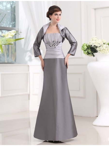 Perles Sans bretelles Sans Manches Taffetas Longue Appliqués Robes des mères des mariés