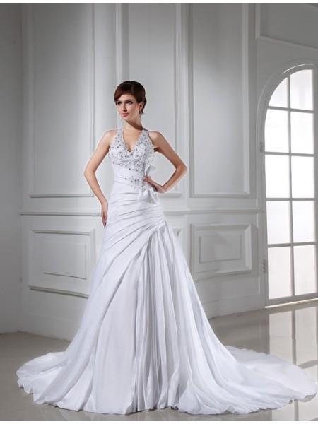 Trapèze/Princesse Perles Licou Sans Manches Longue Taffetas Robe de mariée