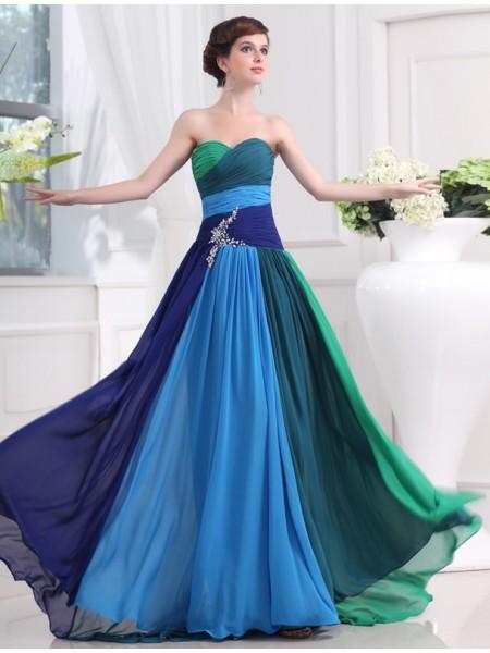Trapèze/Princesse Col en coeur Sans Manches Perles Longue Mousseline Robes