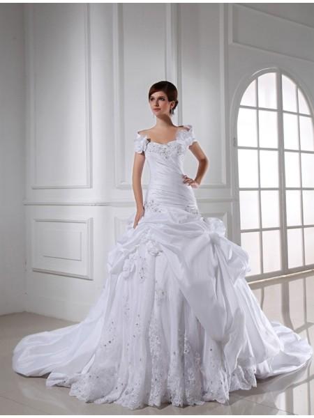 Perles Col en coeur Sans Manches Longue Taffetas Robe de mariée
