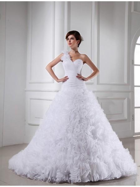 Robe de bal Perles Col asymétrique Col en coeur Sans Manches Longue Organza Robe de mariée