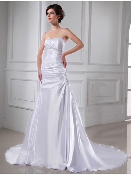 Trapèze/Princesse Perles Appliqués Sans Manches Satiné stretch Robe de mariée