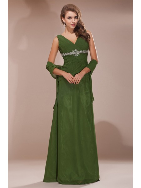 Fourreau Col en V Sans Manches Perles Longue Mousseline Robes des mères des mariés