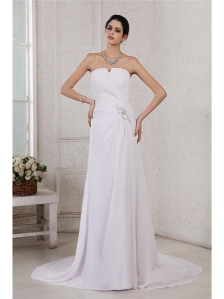 Fourreau Sans bretelles Sans Manches Perles Appliqués Plis Longue Mousseline Robe de mariée