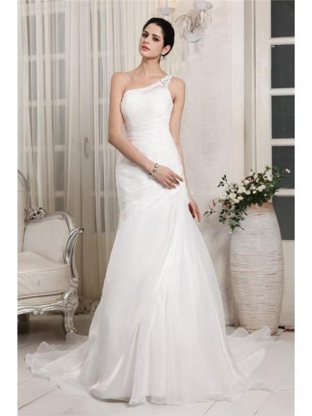 Sirène/Trompette Col asymétrique Sans Manches Perles Appliqués Longue Organza Robe de mariée