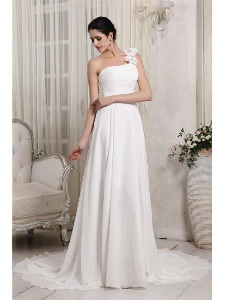 Fourreau Col asymétrique Sans Manches Volants Longue Mousseline Robe de mariée