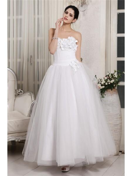 Robe de bal Col en coeur Sans Manches Perles Longue Organza Robe de mariée