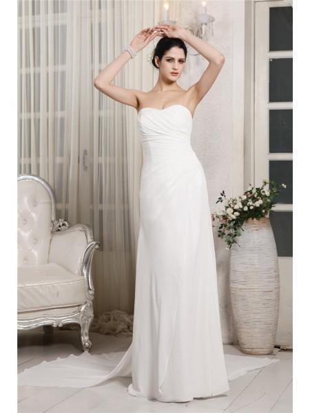 Fourreau Col en coeur Sans Manches Volants Longue Mousseline Robe de mariée