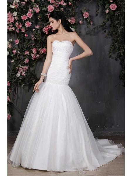 Sirène/Trompette Col en coeur Sans Manches Perles Plis Volants Longue Organza Robe de mariée