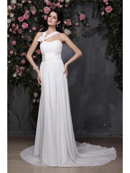 Fourreau Licou Sans Manches Fleurs faites à la main Plis Longue Mousseline Robe de mariée