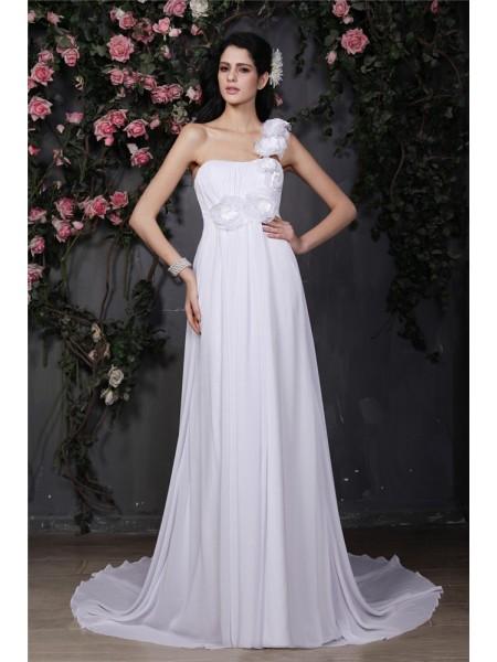 Trapèze/Princesse Col asymétrique Sans Manches Fleurs faites à la main Volants Longue Mousseline Robe de mariée