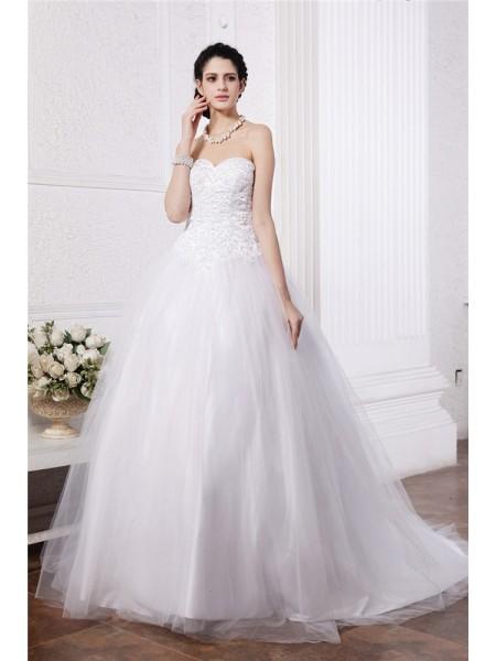 Robe de bal Col en coeur Sans Manches Perles Appliqués Longue Voile Robe de mariée