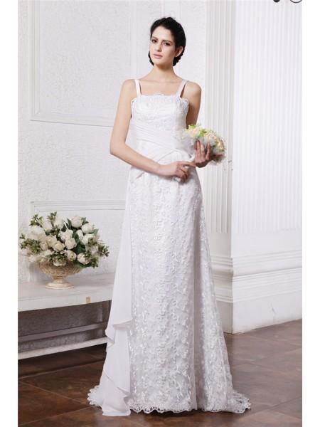 Fourreau Col carré Neck Sans Manches Volants Froncée Longue Mousseline Voile Robe de mariée