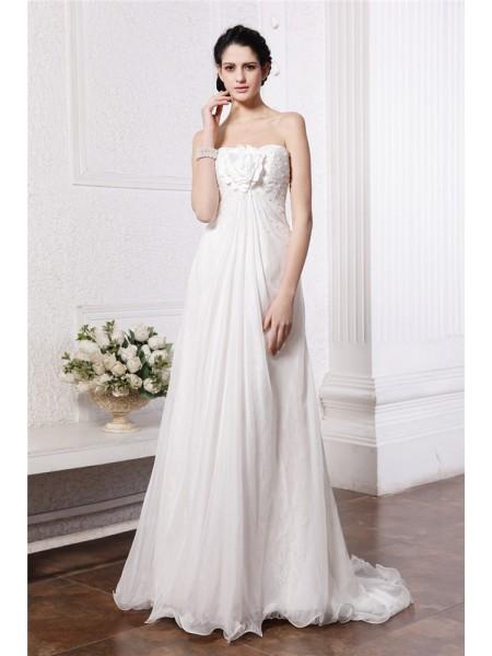 Trapèze/Princesse Sans bretelles Sans Manches Perles Fleurs faites à la main Longue Mousseline Robe de mariée