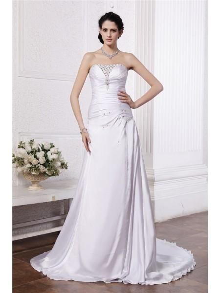 Trapèze/Princesse Sans bretelles Sans Manches Perles Volants Longue Satin soyeuxé Robe de mariée