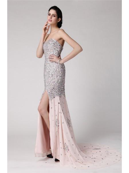 Sirène/Trompette Col en coeur Sans Manches Perles Faux diamants Longue Mousseline Robes