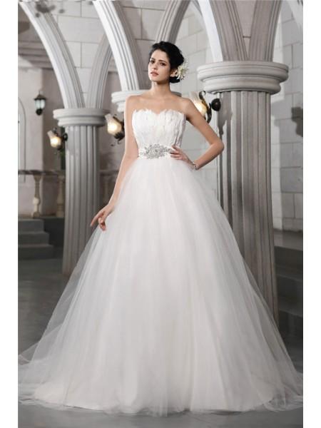 Robe de bal Sans bretelles Sans Manches Perles Feather Longue Voile Robe de mariée