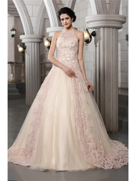 Trapèze/Princesse Col montant Sans Manches Perles Appliqués Longue Voile Robe de mariée