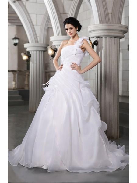 Robe de bal Col asymétrique Sans Manches Plis Longue Organza Robe de mariée