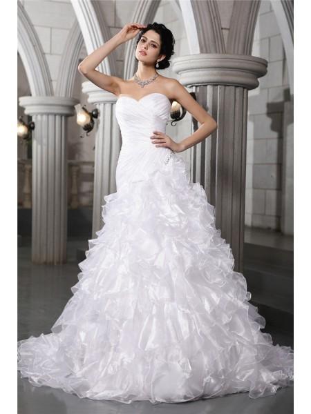 Trapèze/Princesse Col en coeur Sans Manches Plis Perles Longue Organza Robe de mariée