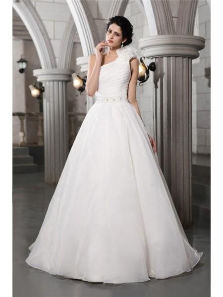 Trapèze/Princesse Col asymétrique Sans Manches Perles Longue Organza Robe de mariée