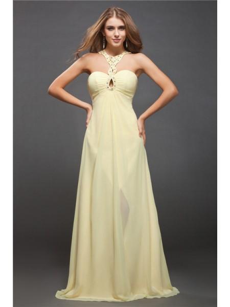 Fourreau Licou Perles Sans Manches Longue Mousseline Robes