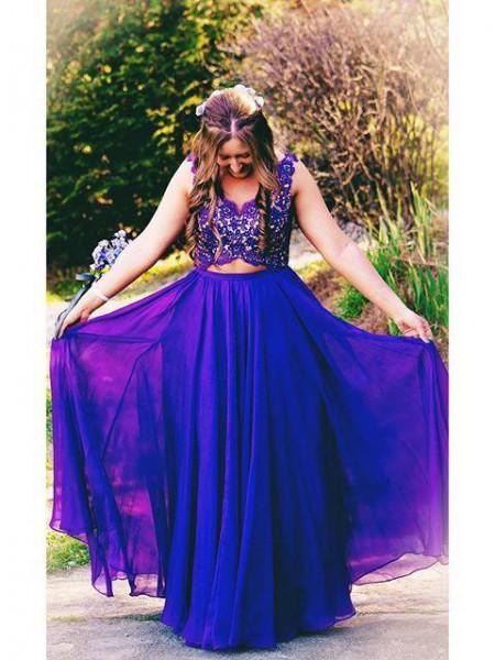 Trapèze/Princesse Avec bretelles Sans Manches Appliqués Longueur ras du sol Mousseline Grande taille Robes