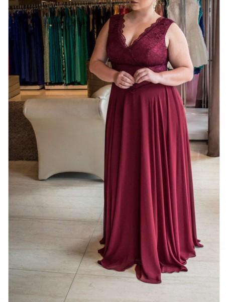 Trapèze/Princesse Col en V Sans Manches Dentelle Traîne courte Mousseline Grande taille Robes