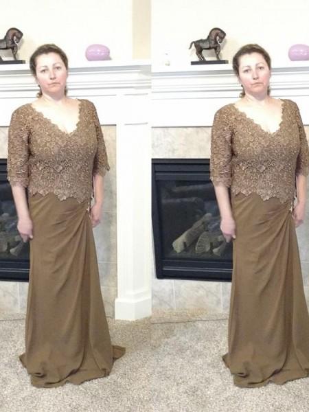 Fourreau Col en V Manches ½ Appliqués Traîne courte Mousseline Robes des mères des mariés
