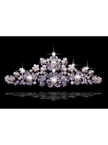 Agréable tchèque Faux diamants Flower Pearls Coiffes de mariage