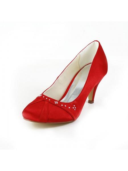 Women's Nice Satin Cône talon Toe Fermé Red Chaussures de mariage With Faux diamants