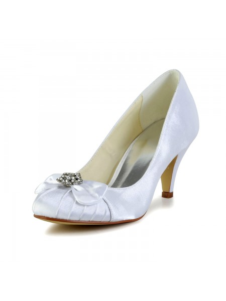 Women's Satin Cône talon Toe Fermé White Chaussures de mariage With Boucles Faux diamants