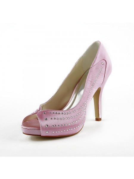 Women's Satin Stiletto Heel Peep Toe Plate-forme Pink Chaussures de mariage With Faux diamants