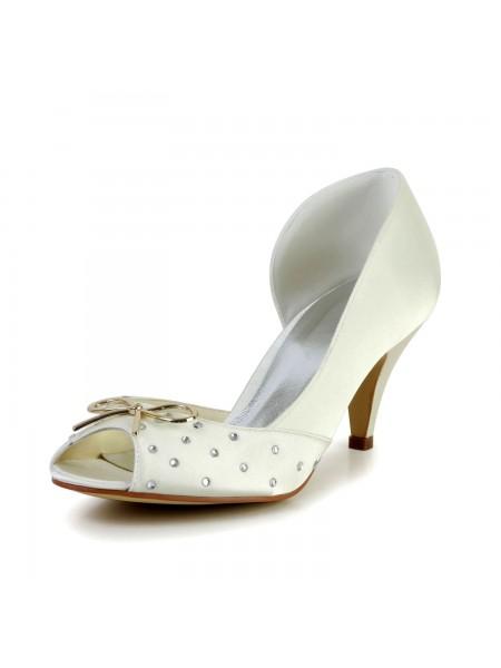 Women's Nice Satin Cône talon Faux diamants Ivory Chaussures de mariage