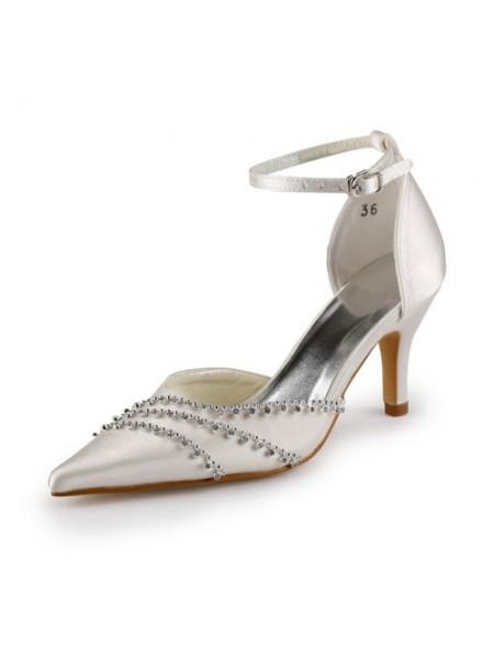 Women's Nice Satin Stiletto Heel Toe Fermé Champagne Chaussures de mariage With Buckle