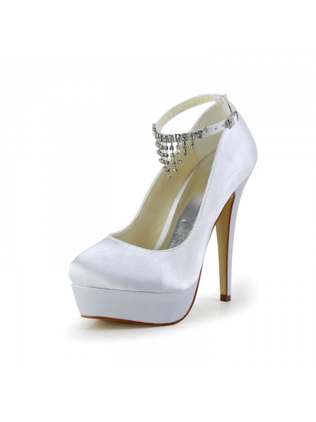 Women's Nice Satin Stiletto Heel Toe Fermé With Faux diamants White Chaussures de mariage