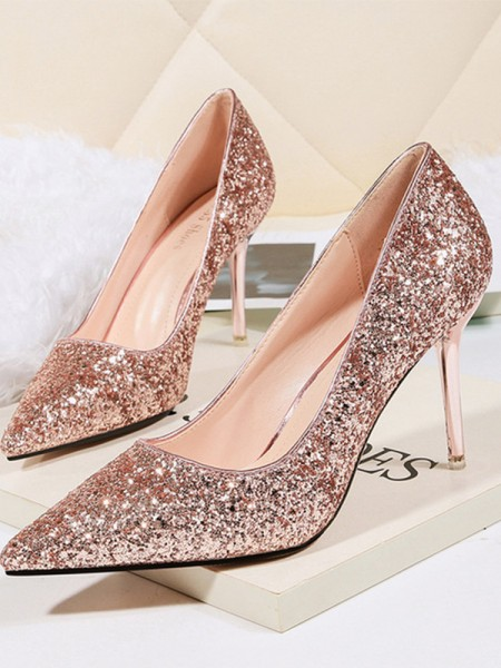 Aux Femmes Stiletto Heel Sparkling Glitter Closed Toe Talons hauts