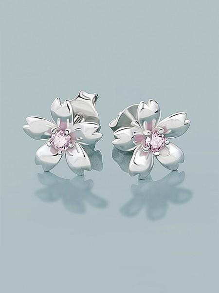 Nouveau 925 Sterling Silver With Flowers Aux Femmes Des boucles d'oreilles
