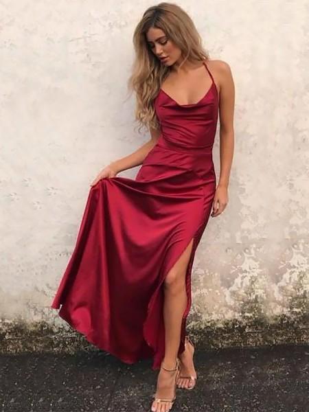 Trapèze/Princesse Bretelles spaghetti Sans Manches Longueur ras du sol Volants Satin stretch Robes