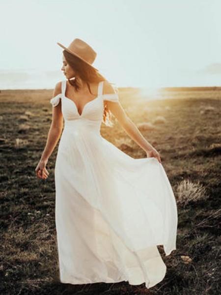Trapèze/Princesse Manches courtes Col en V Avec bretelles Longueur ras du sol Volants Mousseline Robes de Mariée
