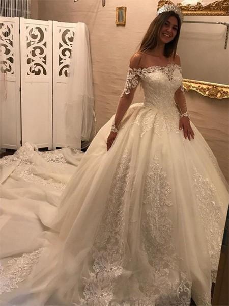 Robe de bal Épaules dégagées Manches longues Traîne longue Appliqués Tulle Robes de Mariée