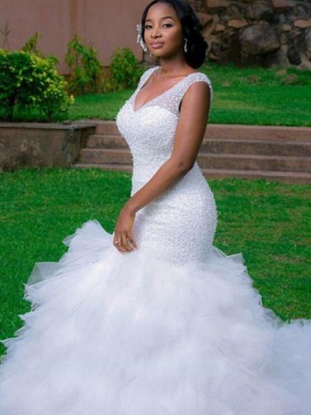 Sirène/Trompette Col en V Sans Manches Traîne longue Perles Organza Robes de Mariée