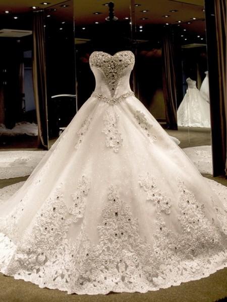Robe de bal Sans Manches Col en coeur Traîne longue Appliqués Pailleté Tulle Robes de Mariée