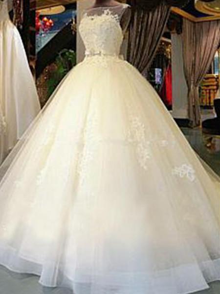 Robe de bal Col plongeant Traîne longue Sans Manches Rubans/Ceintures Appliqués Tulle Robes de Mariée