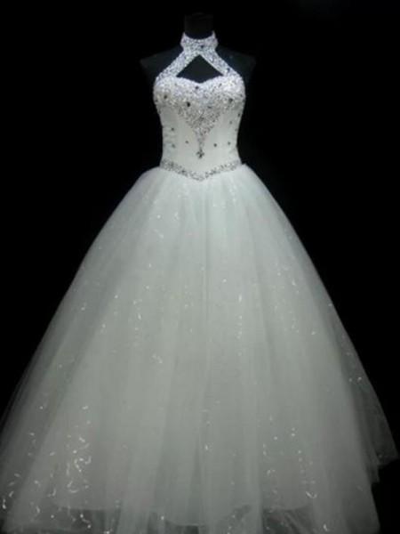 Robe de bal Licou Sans Manches Longueur ras du sol Perles Pailleté Tulle Robes de Mariée