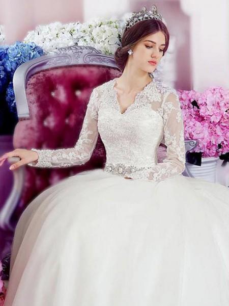 Trapèze/Princesse Manches longues Col en V Traîne longue Appliqués Dentelle Tulle Robes de Mariée