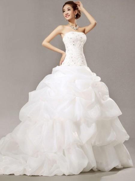 Robe de bal Sans Manches Sans bretelles Traîne longue Perles Dentelle Plis Organza Robes de Mariée