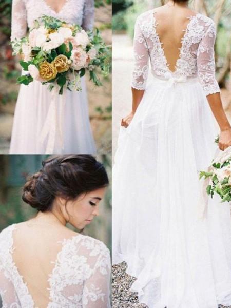 Trapèze/Princesse Manches ½ Col en V Longueur ras du sol Appliqués Dentelle Mousseline Robes de Mariée