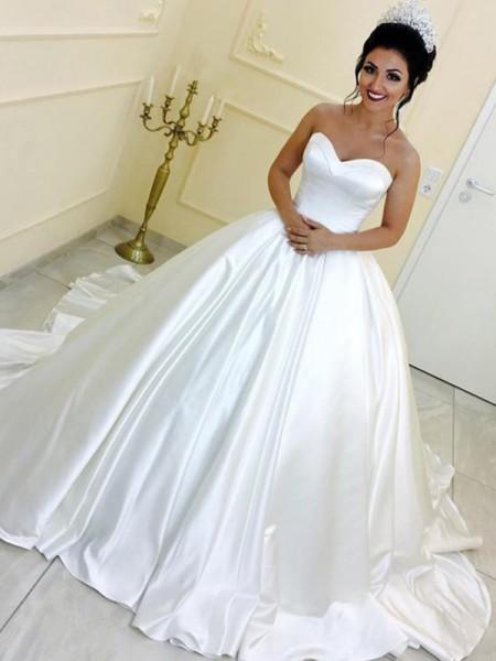 Robe de bal Col en coeur Satiné Sans Manches Rubans/Ceintures Traîne longue Robes de Mariée